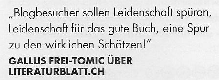 literaturblatt.ch im Bücher Magazin 6/16